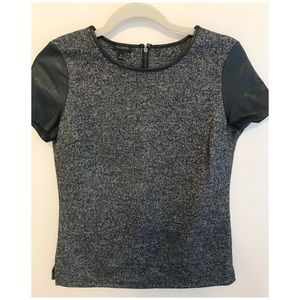 Talbots Marled Leather Sleeves Top